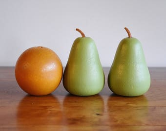 Painted Wood Orange Pears, Decorative Hand Carved Wooden Fruit, Kitchen Decor, 3 Faux Orange Green Pears, French Country Farmhouse