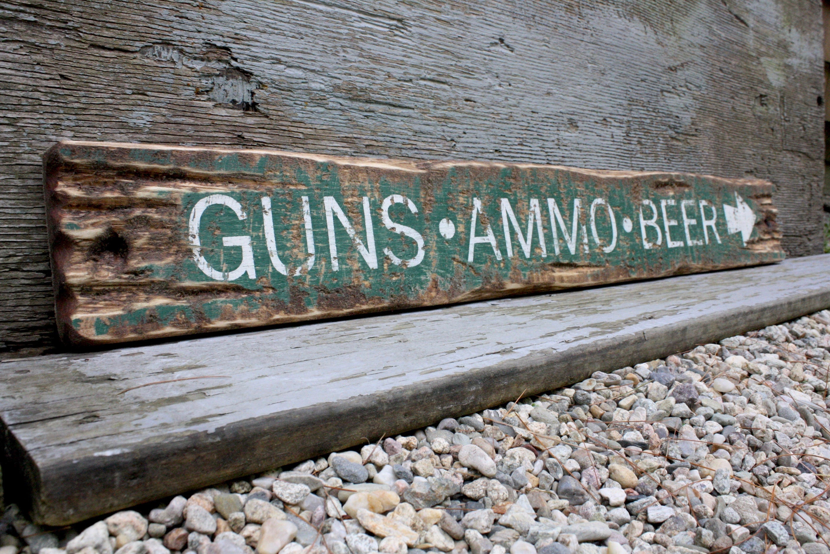 guns ammo beer sign rustic wood sign distressed wood hunting sign cabin decor man cave decor