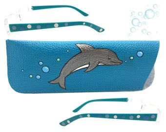 Women's Blue 2.0 Strength Hand Painted Polka Dot Reading Glasses with Dolphin and Bubble Eyeglasses Case
