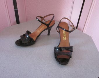"1960s Black Patent Leather High-Heeled Sandals by ""Newton Elkin,"" Size 7B"