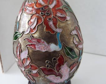 """large 4.5"""" Chinese champleve cloisonne enamel egg gold floral stargazer lily  with stand"""