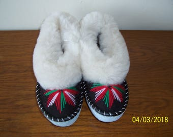 Sheepskin slippers EU38=US 7.5 / Fur leathers slippers / Warm Slippers / Fur Moccasin / Gift for Women