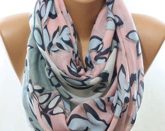 Salmon Cream Blue Leaf Print Women Accessories Spring Celebrations Fashion Art Infinity Scarf Scarfs Scarves Cowl Pareo Gift Ideas For Her