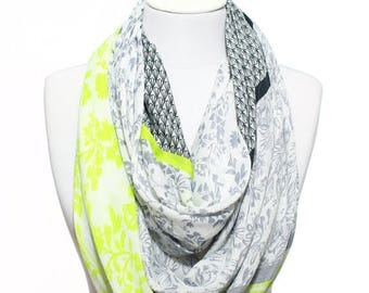 Neon Yellow Grey White Floral Printed So Soft Lightweight Spring Summer Woman Fashion Accessory Scarves Women Gift Ideas For Her Him Mom