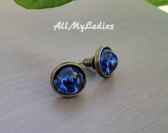 Blue leopard glass cabochon earrings