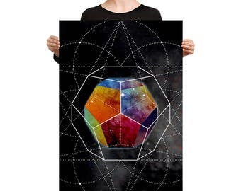 Canvas - Space Geometry Rainbow Hex Canvas Art