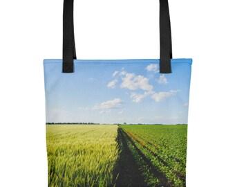 Tote bag - Red Silo Original Art - Green Wheat & Beans