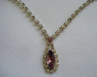 Vintage Austrian Crystal Pink Purple Necklace A+ Condition Teardrop Victorian Style #515