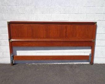 Vintage Headboard Panel Mid Century Modern Campaign Asian Frame Wood Bedroom Set Boho Chic Style Furniture Panel King CUSTOM PAINT AVAILABLE