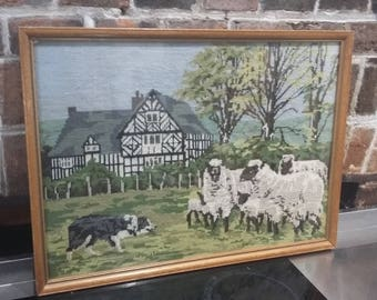 Very Large Tapestry Glazed Frame Sheep Sheep Dog and Farmhouse