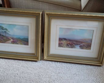 Pair of Landscape Prints in Gilt Frames. Scottish Landscapes