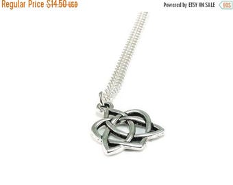 SALE Celtic Knot Heart Necklace Sterling Silver Plated Chain