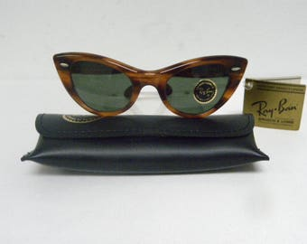 New Vintage B&L Ray Ban Lisbon Tortoise G-15 Gray Cat Eye W0960 Sunglasses USA NOS