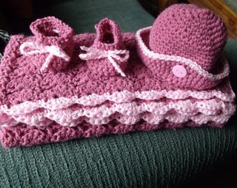 Baby afghan,hat,booties,cranberry cream