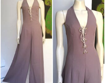 90's Vintage FLARED lace up Ali Wood palazzo jumpsuit S