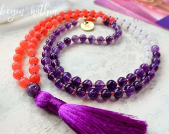 Amethyst + Jade Mala Beads Necklace | Amethyst Tassel Necklace | Amethyst Jewelry | Yoga Necklace | Yoga Jewelry