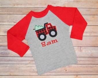 Boy Christmas dump truck shirt, construction Christmas shirt, Buffalo plaid Christmas shirt, Christmas truck shirt, toddler Christmas