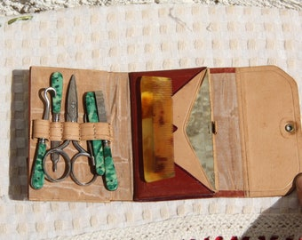 Antique French travel manicure and sewing set