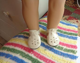 """Ivory Leather Doll Shoes for 18 inch Dolls- Shoes fit 18"""" Dolls like American Girl"""