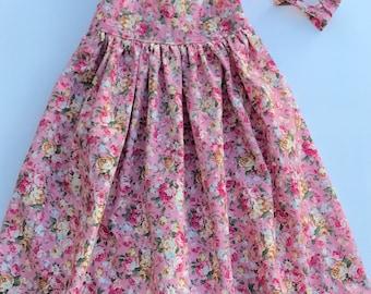 Dusky pink floral hummingbird dress - size 3