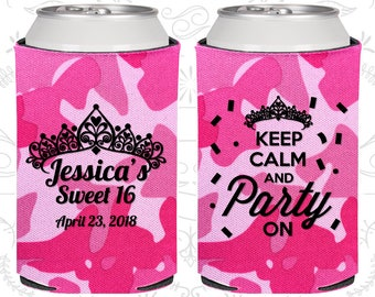 16th Birthday, 16th Birthday Favors, Birthday Party Favors, Sweet 16 Favors, Keep Calm and Party on, Party Favors (20140)