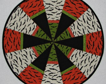 """Halloween Quilted Table Topper, Circular Quilted Halloween Candle Mat, Black Orange Green White Table Mat, 18.75"""", Quiltsy Handmade"""