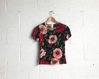 90s Semi Sheer Floral Print T-Shirt · 90s Dark Florals Print · 90s Blouse Tshirt · Super Stretch Tshirt · Peony Print Tshirt · Made in USA M