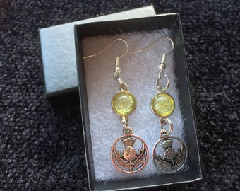 Scottish thistle charm with yellow cabochon earrings