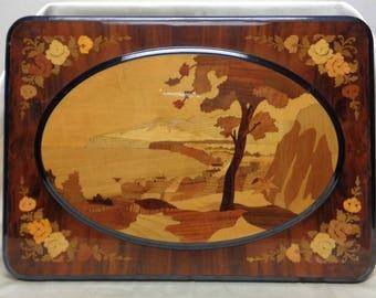 Beautiful Vintage Italian Wall Hanging Inlaid Costal & Floral Art on Wood Panel