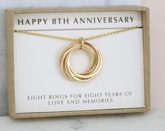 8th anniversary gift for wife, 8 year anniversary necklace for her, handmade gift for her - Lilia