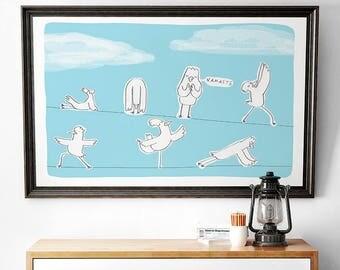 Birds doing Yoga Print