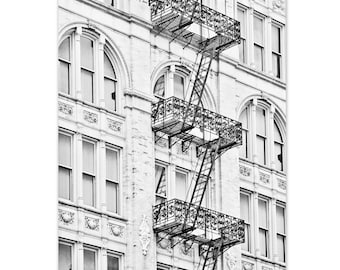 "New York Art, Black and White Photography, New York City, NYC Building, Soho, New York Fire Escape, NYC Architecture - ""Chutes and Ladders"""