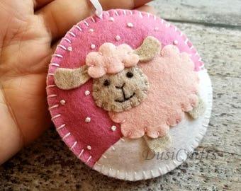 PRE ORDER / Felt Christmas Sheep ornament, Sheep Christmas Ornament, Sheep Decoration, Pink Lamb, White & Black Sheep Christmas Decoration