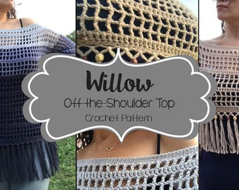 Crochet Pattern // Willow Off-the-Shoulder Top (Adult) // Easy