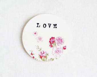 Personalized Coaster, Wood Coaster, Wooden Coaster, Coaster with Text, Love, Typewriter Style Text, Floral Coaster, Coaster with Flowers