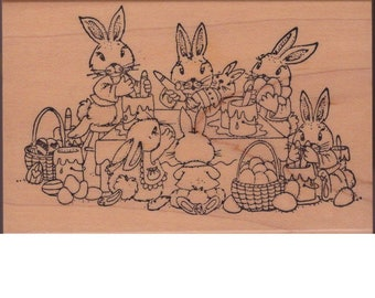 "Easter Egg Bunnies Decorating Party (3-1/2"" wide X 2-1/2"" tall)"