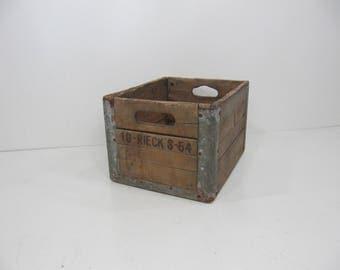Vintage Wood and Metal, Milk Crate, Storage Crate, Wood Box, Wooden Crate, Wood Crate with Advertisement, Industrial Storage