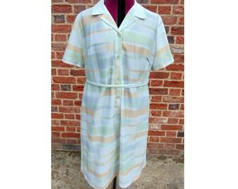 Striped Mod Dress/1960s Vintage Dress/Striped Dress/Summer Dress/Beach Dress/60s Mod Dress/Scooter Dress/60s Dress/UK 22