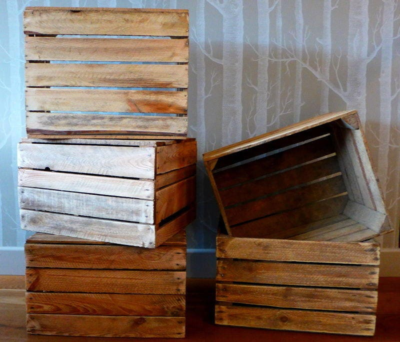 Vintage Wooden Apple Crate, Rustic Wood Box, Wedding Decor