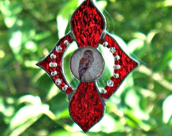 Red Stained Glass Owl Suncatcher Decor, Window Hanging Glass Ornament, Home  Decor, Outdoor