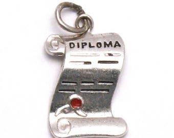 ON SALE Diploma Bracelet Charm Vintage Sterling Silver Graduation Gift
