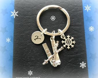 Skis keychain - Personalised skis keyring - Skiing gift - Skiing keyring - Gift for skier - Stocking filler - Secret Santa - Etsy UK
