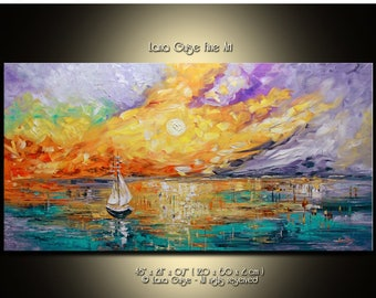 SALE The Edge of Glory Colorful Seascape Sailboats Original Oil Painting Contemporary Modern Palette Knife Painting by Lana Guise
