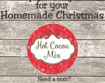 Hot Cocoa Mix Christmas labels for your homemade Christmas gifts