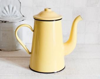 Vintage french yellow enamel coffee pot - French Coffee pot or teapot - Retro home decor