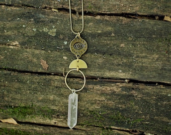 Vibe Protector Evil Eye Talisman Necklace with Quartz Crystal