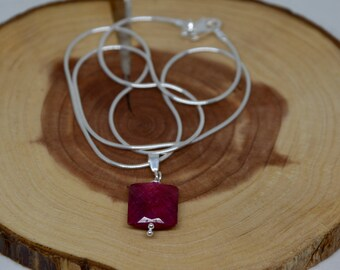 Ruby Necklace/ Ruby Pendant/Ruby Jewelry/Valentines Day Gift