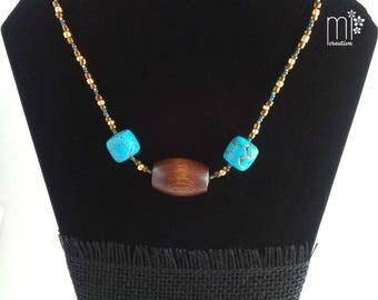 Large Wood Bead and Faux Turquoise Necklace