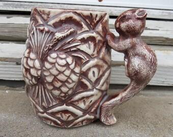 Squirrel Coffee Mug Squirrel Handle- Acorn Accents Cute Vintage Cup