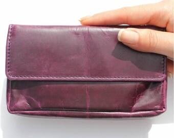 Francesca Leather Pouch Purple
